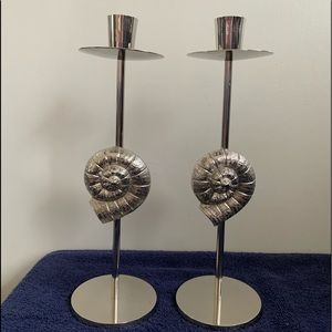 Sterling silver Shell candle holders